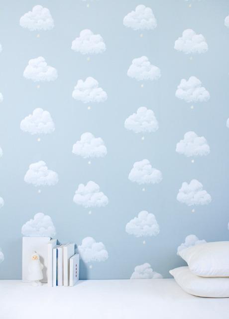 Carta da parati nuvole di cottone blu for Carta parati camera bambini