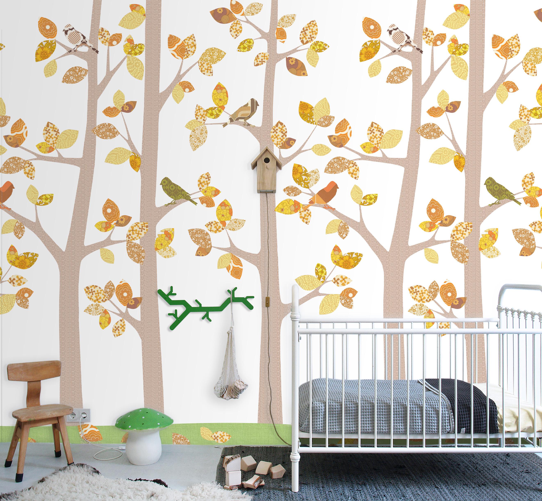 murale carta da parati alberi autunno