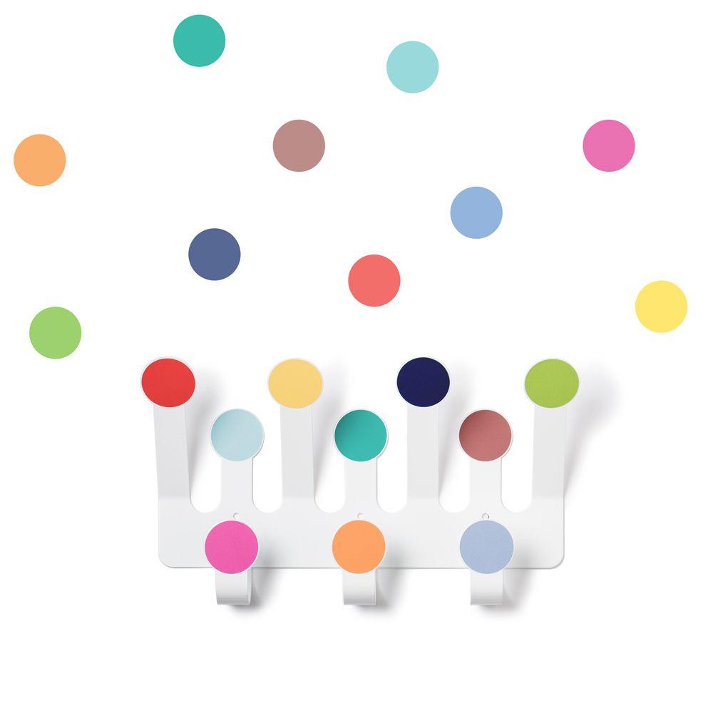 Attaccapanni Colorati.Gancio Attaccapanni Sticker Da Muro A Pois Multicolore