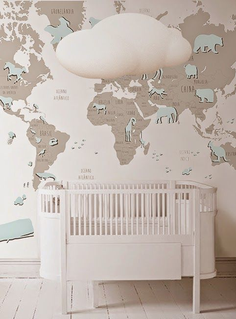 Blue World Map Wallpaper Mural