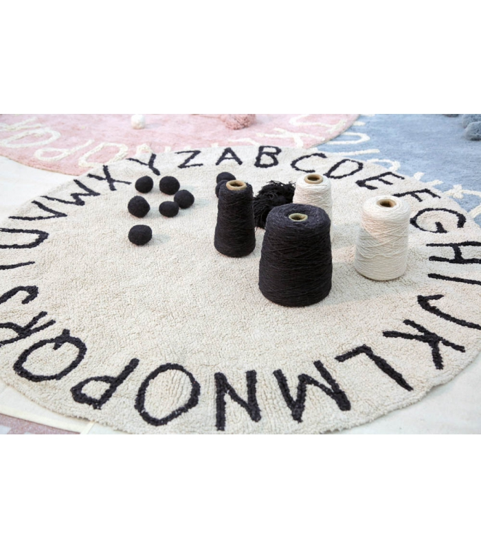 ABC Natural Round Washable Rug