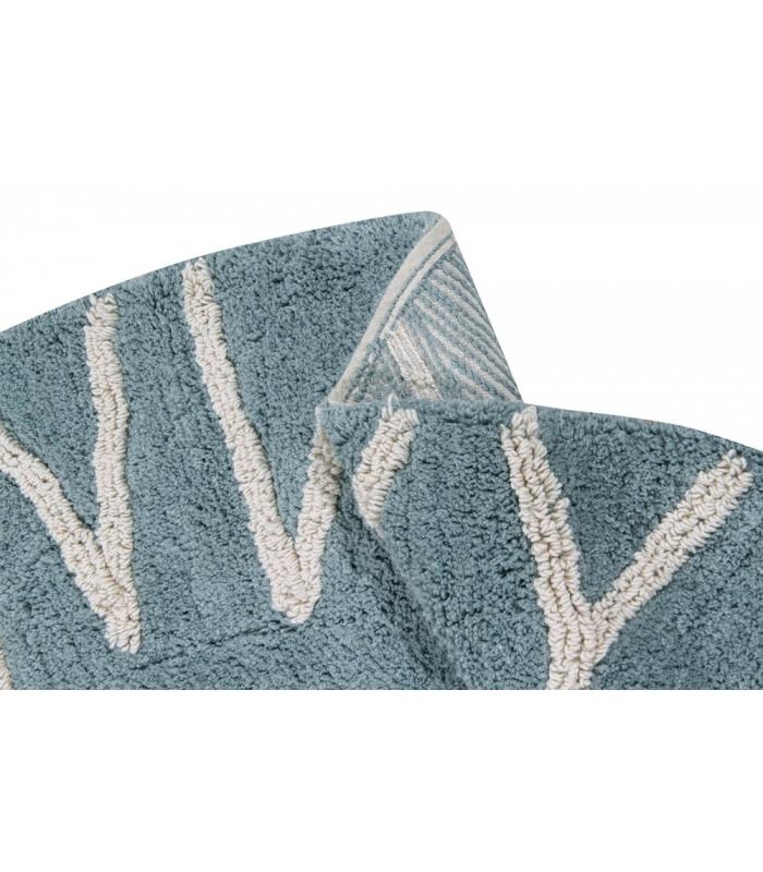 Washable Circular Rugs: ABC Vintage Blue Round Washable Rug