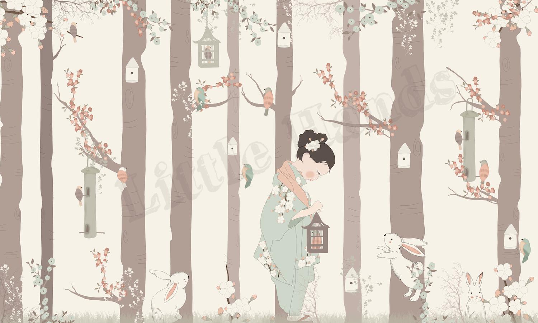carta da parati cameretta bimba : Decoro :: Cameretta :: Carte da Parati :: Murale Carta da Parati Kyoto