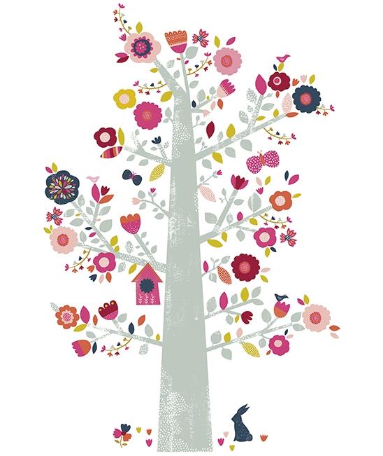 Sticker da muro albero con fiori for Stickers arbre pour chambre bebe