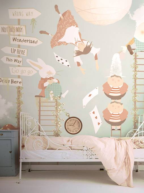 alice in wonderland wallpaper mural. Black Bedroom Furniture Sets. Home Design Ideas