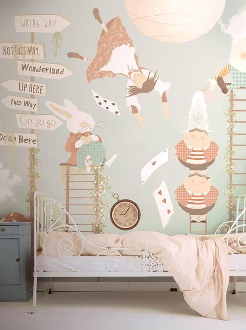 alice in wonderland wallpaper mural. Black Bedroom Furniture Sets. Home Design Ideas