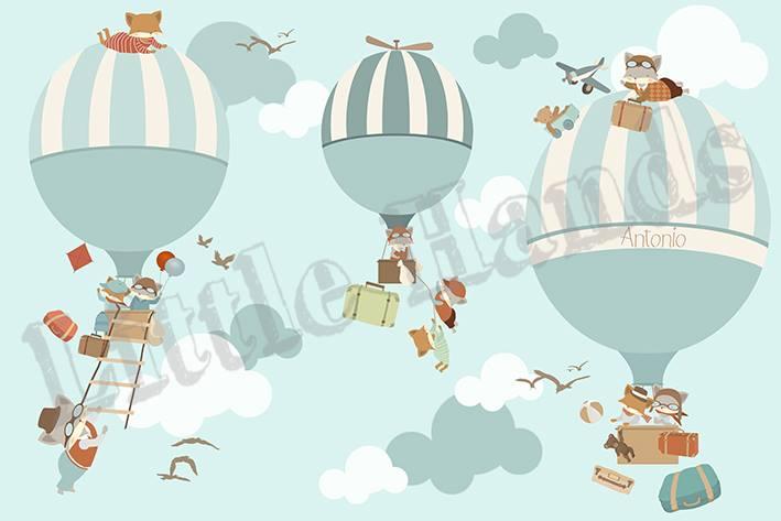 Murale carta da parati mongolfiera e animali for Carta da parati bambini on line