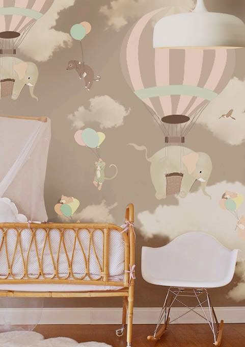 Hot Air Balloon Elephants Wallpaper Mural