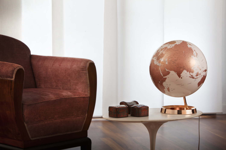 World Globe Copper Table Lamp