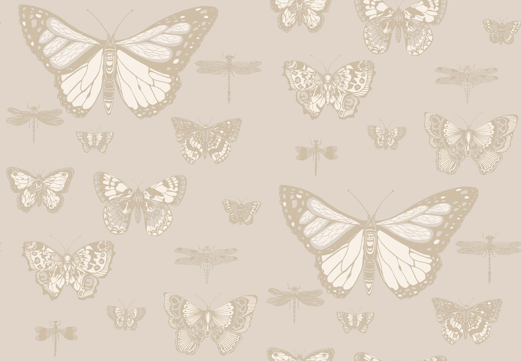 Carta da parati butterflies dragonflies shades of beige for Carta da parati beige