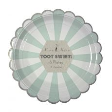 Toot Sweet Acqua Stripe Large Plates