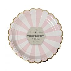 Dusty Pink Striped Small Plates