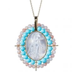 Miraculous Medal with Coral and Persia Turquoise