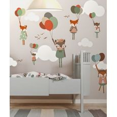 Murale Carta da Parati Fox with Balloons