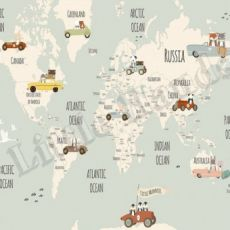 Murale Carta da Parati Little Munnies Racers World Map