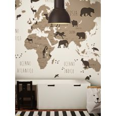 Black & White World Map Wallpaper Mural