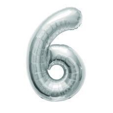 Palloncino Argento Numero 6