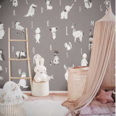 ABC Grey Wallpaper Mural