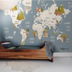 Fauna & Flora World Map Wallpaper Mural