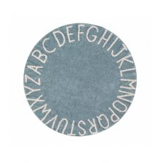 ABC Vintage Blue Round Washable Rug