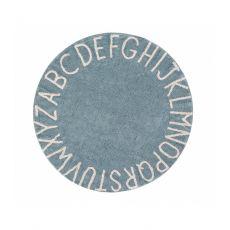 ABC Vintage Blue Round Washable Rug