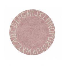 ABC Pink Round Washable Rug