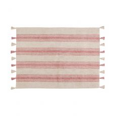 Coral Pink Stripes Washable Rug