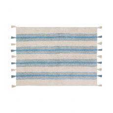 Nile Blue Stripes Washable Rug