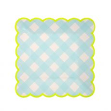 Piatti di Carta, plaid blu chiaro (piccoli) di Meri Meri