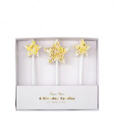 Gold Glitter Star Candles from Meri Meri :: Available online at Baby Bottega
