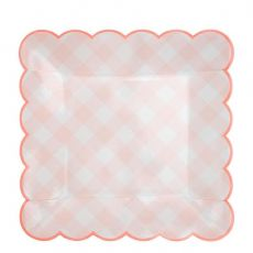 Pink Gingham large plate from Meri Meri :: Baby Bottega