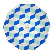 Aqua Cubic, Large Paper Plate from Meri Meri