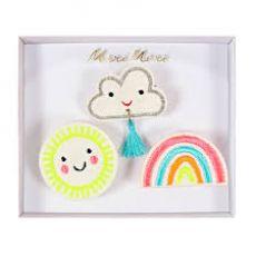 Sun, Rainbow & Cloud brooches from Meri Meri
