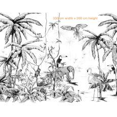 Jungle black & white mural 330 x 260 cm with Annet Weelinks :: Baby Bottega