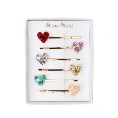 Glitter Heart Hair Slides from Meri Meri :: Baby Bottega