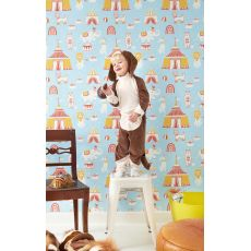 Circus Wallpaper Light Blue