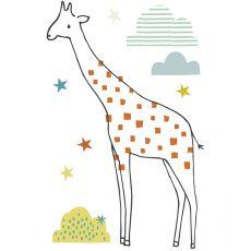 Sticker da Muro XL Giraffa, Stelle e Nuvole