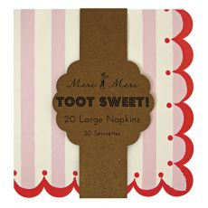 Toot Sweet Large Stripe Napkins Pink