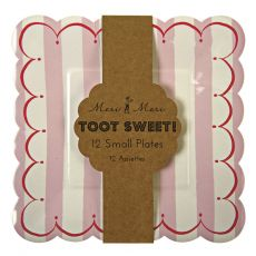 Toot Sweet Large Stripe Plates Pink