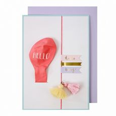 Hello Baby Girl Balloon Greeting Card