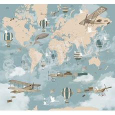 Murale Carta da Parati Aviator World Map