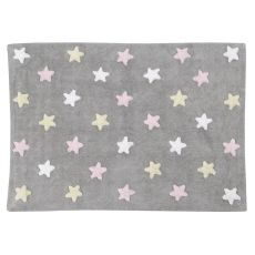 Tricolour Stars Grey Pink Rug