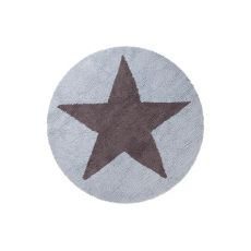 Round Blue Star Reversible Rug