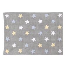 Grey Blue Tricolor Stars Rug