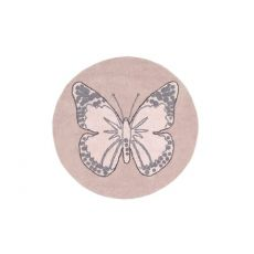 Round Nude Vintage Butterfly Rug