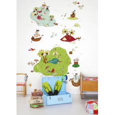Treasure Map White Wallpaper Mural