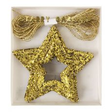 Chunky Gold Glitter Stars Mini Garland from Meri Meri :: Baby Bottega