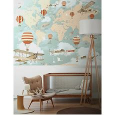 World Map Balloon Ride Mural Wallpaper