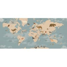 Animals World Map Mural Wallpaper