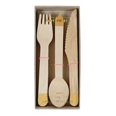 Gold Color Wooden Cutlery Set :: Meri Meri
